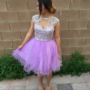 Alyce Paris Orchid/Lavender Sequined Prom Dress